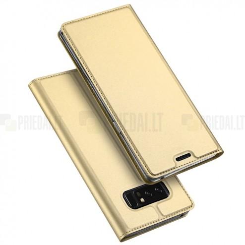 """Samsung Galaxy Note 8 (N950F) """"Dux Ducis"""" Skin sērijas zelta ādas atvērams maciņš"""