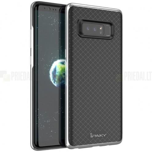 "Samsung Galaxy Note 8 (N950F) ""IPAKY"" cieta silikona (TPU) melns apvalks (apmales - sudrabā krāsā)"