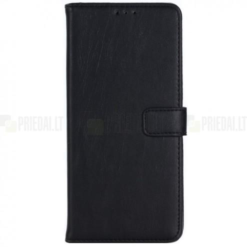 Samsung Galaxy Note 8 (N950F) atvēramais ādas melns retro maciņš (maks)