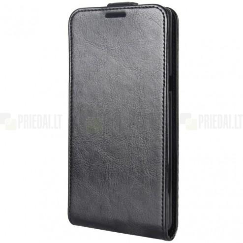 Samsung Galaxy Note 8 (N950F) klasisks ādas vertikāli atvēramais melns maciņš