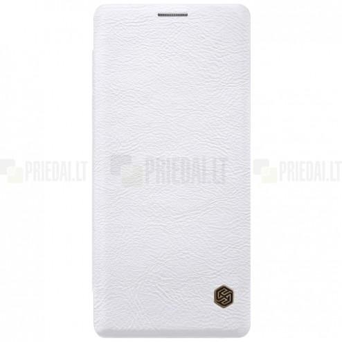 """Greznais """"Nillkin"""" Qin sērijas ādas atvērams balts Samsung Galaxy Note 8 (N950F) maciņš"""