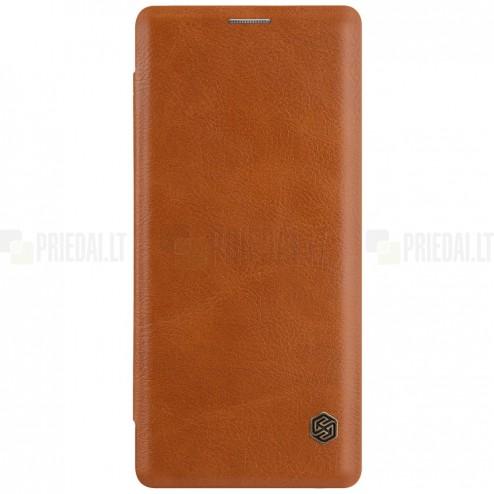 """Greznais """"Nillkin"""" Qin sērijas ādas atvērams brūns Samsung Galaxy Note 8 (N950F) maciņš"""