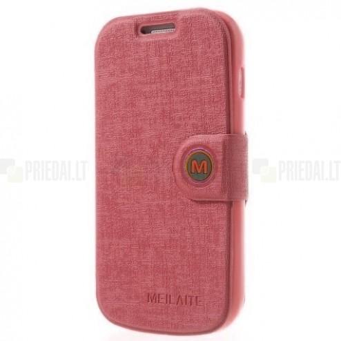 Samsung Galaxy S Duos S7562, Samsung Galaxy S Duos 2 S7582, Samsung Galaxy Trend S7560 un Samsung Galaxy Trend Plus S7580 MLT atvēramais gaiši rozs maciņš (maks)