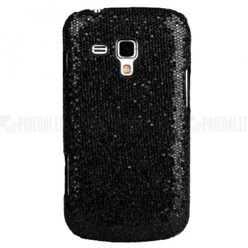 Samsung Galaxy S Duos S7562, Samsung Galaxy S Duos 2 S7582, Samsung Galaxy Trend S7560 un Samsung Galaxy Trend Plus S7580 Glitter plastmasas melns apvalks