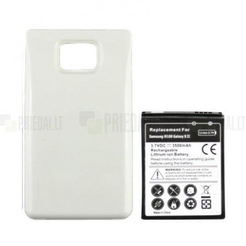 Samsung Galaxy S2 i9100 akumulators (3500 mAh) + balts aizmugurējs vāciņš