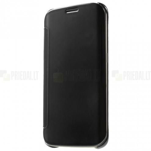 Samsung Galaxy S6 Edge (G925) plastmasas atvērams melns ādas maciņš