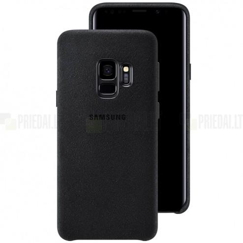 Samsung Galaxy S9 (G960) Alcantara  Cover melns plastmasas apvalks
