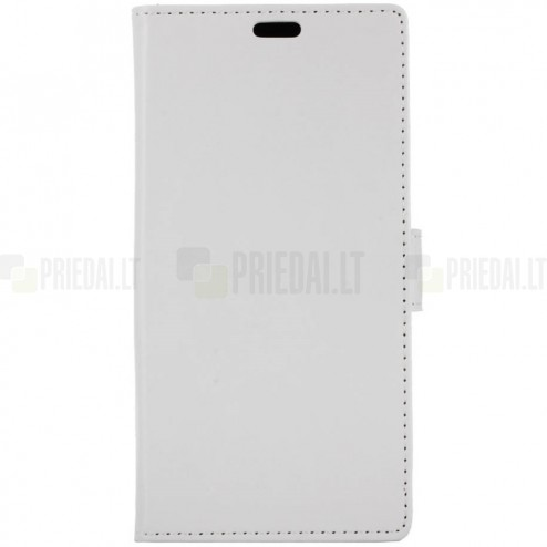 Samsung Galaxy S9 (G960) atvēramais ādas balts maciņš (maks)