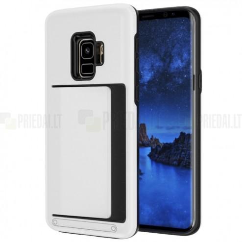 "Samsung Galaxy S9 (G960) ""Combo"" Card Holder balts silikons apvalks"