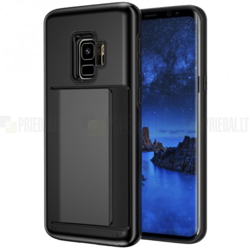 "Samsung Galaxy S9 (G960) ""Combo"" Card Holder melns silikons apvalks"