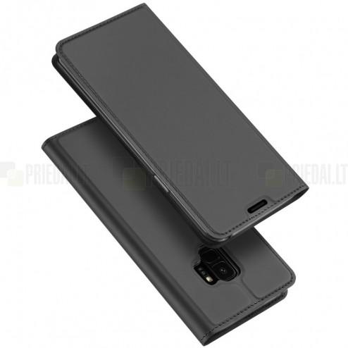"""Samsung Galaxy S9 (G960) """"Dux Ducis"""" Skin sērijas melns ādas atvērams maciņš"""