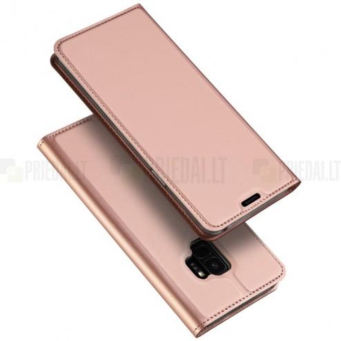 """Samsung Galaxy S9 (G960) """"Dux Ducis"""" Skin sērijas rozs ādas atvērams maciņš"""