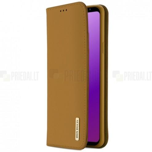 """Samsung Galaxy S9 (G960) """"Dux Ducis"""" Wish sērijas gaiši brūns ādas atvērams maciņš"""