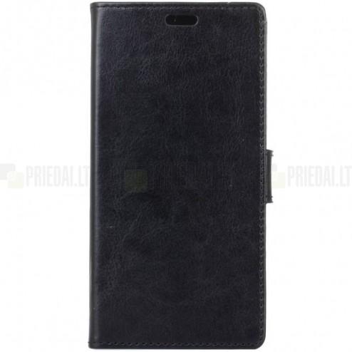Samsung Galaxy S9 (G960) atvēramais ādas melns maciņš (maks)