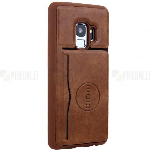 "Samsung Galaxy S9 (G960) ""Kickstand"" Card Holder brūns ādas apvalks"