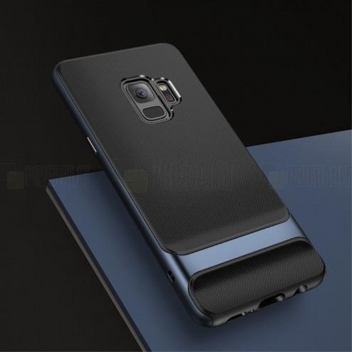"""Samsung Galaxy S9 (G960) """"Rock"""" Royce pastiprinātas aizsardzības melns apmales zilā krāsā apvalks"""