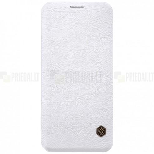 """Greznais """"Nillkin"""" Qin sērijas ādas atvērams balts Samsung Galaxy S9 (G960) maciņš"""