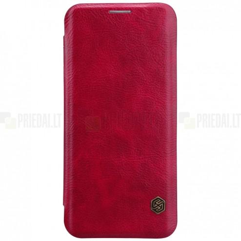 """Greznais """"Nillkin"""" Qin sērijas ādas atvērams sarkans Samsung Galaxy S9 (G960) maciņš"""