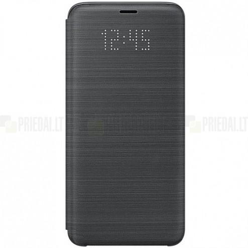 Samsung Galaxy S9 (G960) oficiāls Led View Cover atvērams melns ādas maciņš (maks)