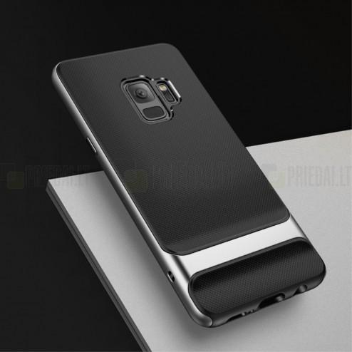 """Samsung Galaxy S9 (G960) """"Rock"""" Royce pastiprinātas aizsardzības melns apmales pelekā krāsā apvalks"""