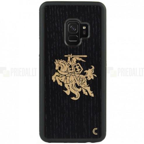 """Samsung Galaxy S9 (G960) """"Crafted Cover"""" Melns Vytis dabīga koka telefona apvalks"""