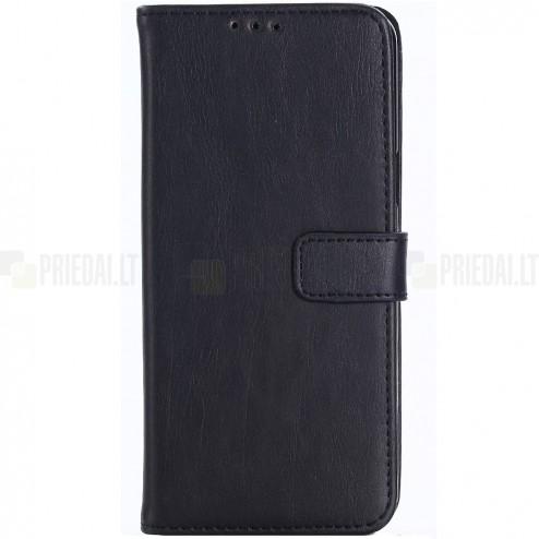Samsung Galaxy S6 (G960) atvēramais ādas melns retro maciņš (maks)