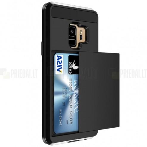 "Samsung Galaxy S9 (G960) ""Sliding"" Card Holder melns silikons apvalks"