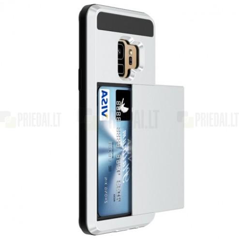 "Samsung Galaxy S9 (G960) ""Sliding"" Card Holder sudrabs silikons apvalks"
