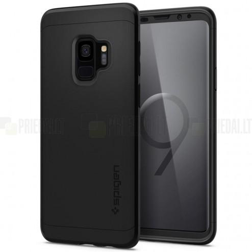"""Samsung Galaxy S9 (G960) """"Spigen"""" Thin Fit 360 melns futrālis + ekrāna aizsargstikls"""