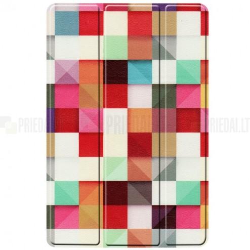Samsung Galaxy Tab S5e (T720, T725) Pattern atvēramais krāsains, balts maciņš