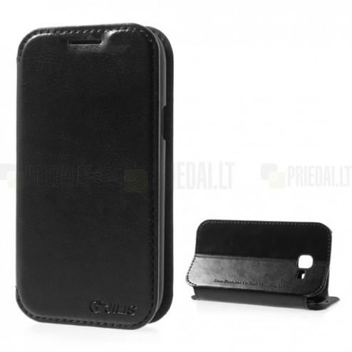 """""""Jilis"""" atvērams ādas melns Samsung Galaxy Trend II S7570 futrālis"""