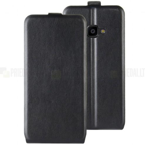 Samsung Galaxy Xcover 4 / 4S (G390, G398) klasisks ādas vertikāli atvēramais melns maciņš