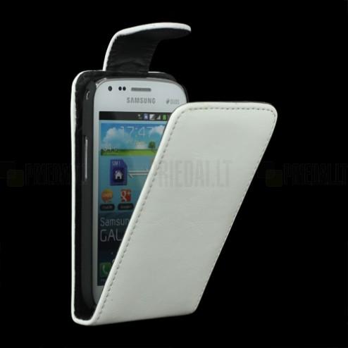 Samsung Galaxy S Duos S7562 klasisks ādas vertikāli atvēramais balts futrālis