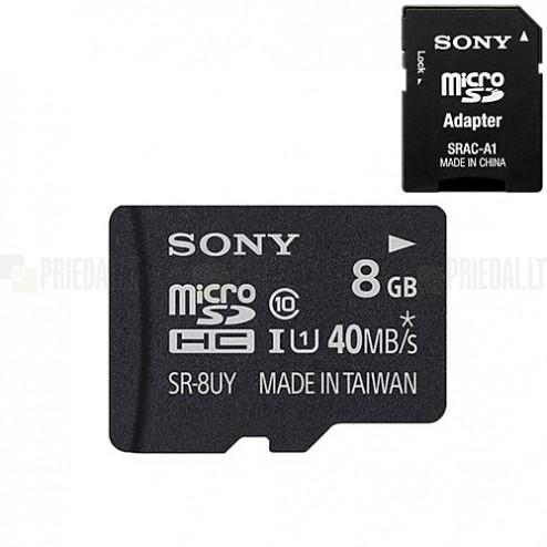 """""""Sony"""" MicroSD atmiņas karte 8 Gb, 10 klase ar SD adapteri"""