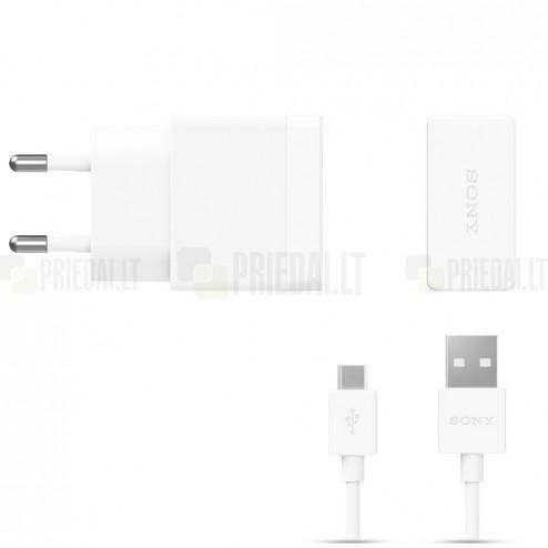 "Origināls ""Sony"" Quick Charger (EP881) balts tīkla lādētājs (Eiropas modelis 1500 mA) ar micro USB vadu"
