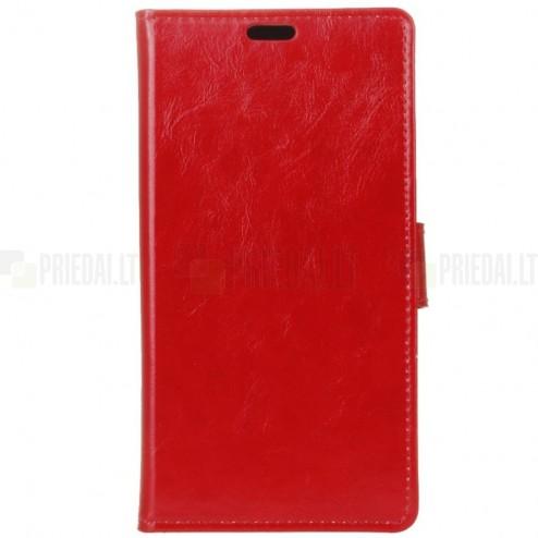 Sony Xperia 1 (XZ4) atvēramais ādas sarkans maciņš (maks)