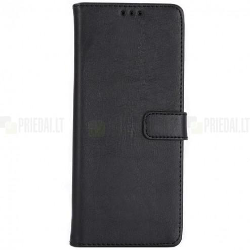 Sony Xperia 1 (XZ4) atvēramais ādas melns retro maciņš (maks)