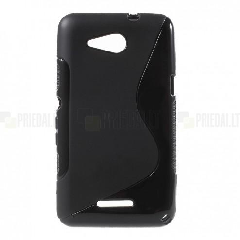 Sony Xperia E4g matēts cieta silikona (TPU) melns apvalks