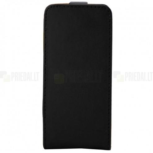 Sony Xperia XA ādas vertikāli atvēramais melns futrālis
