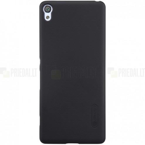 Sony Xperia XA Nillkin Frosted Shield melns plastmasas futrālis + ekrāna aizsargplēve