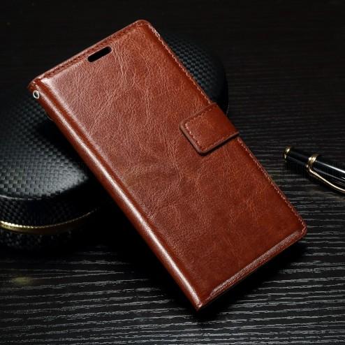Sony Xperia XA1 atvēramais ādas brūns maciņš (maks)