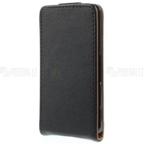 Sony Xperia Z3 Compact klasisks ādas vertikāli atvēramais melns futrālis