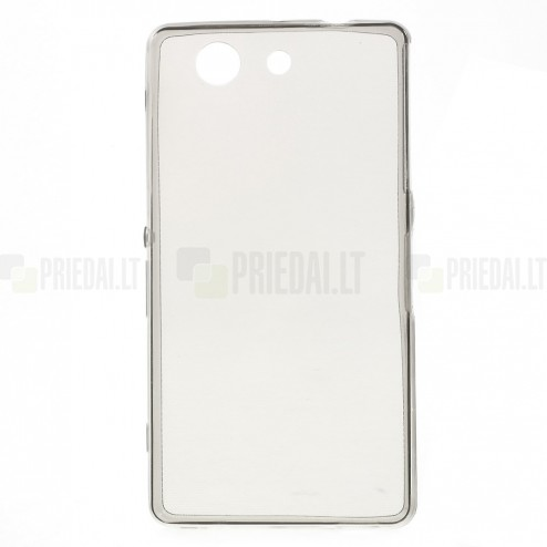 Sony Xperia Z3 Compact dzidrs (caurspīdīgs) cieta silikona TPU pasaulē planākais pelēks apvalks