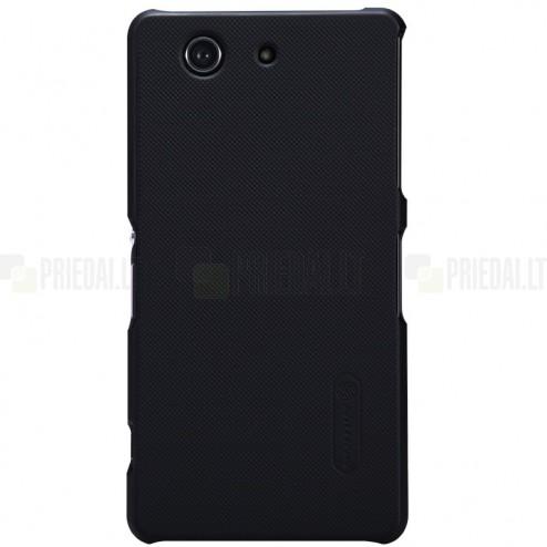 Sony Xperia Z3 Compact Nillkin Frosted Shield melns plastmasas futrālis + ekrāna aizsargplēve