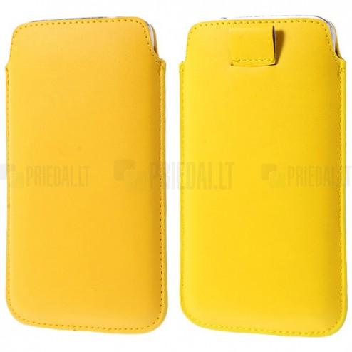 Dzeltena universāla ieliktņa ādas - futrālis (L+ izmērs)