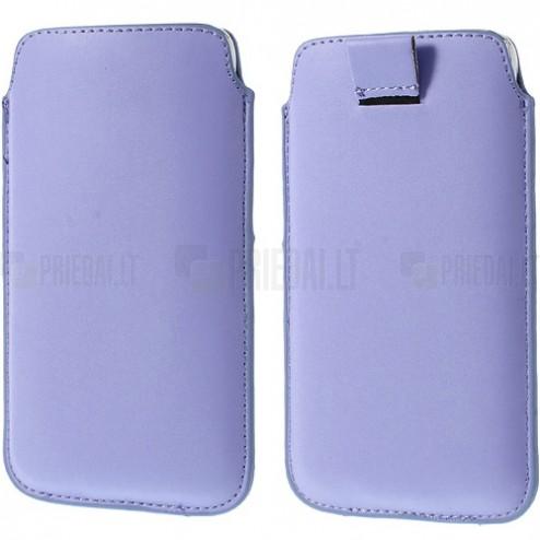 Universāla gaiši violeta ieliktņa ādas - futrālis (L izmērs)