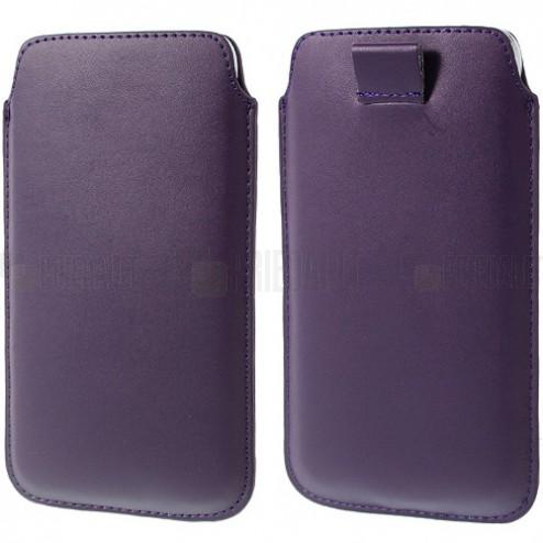 Tumši violeta universāla ieliktņa ādas - futrālis (L+ izmērs)