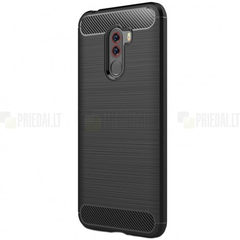 "Xiaomi Pocophone F1 ""Carbon"" cieta silikona (TPU) melns apvalks"