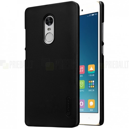 Xiaomi Redmi Note 4 X Nillkin Frosted Shield melns plastmasas apvalks + ekrāna aizsargplēve