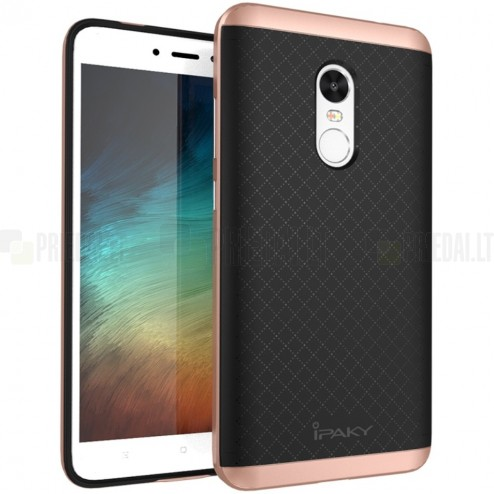 "Xiaomi Redmi Note 4X ""IPAKY"" cieta silikona (TPU) melns apvalks (apmales - rozā krāsā)"